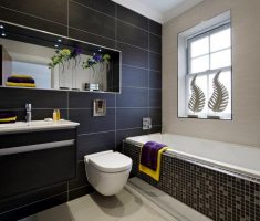mosaic black and white bathroom tiles with big black tile wall