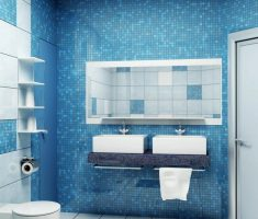 mosaic blue bathroom tiles and white