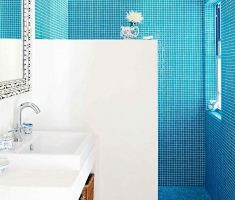 mosaic blue bathroom tiles with white wall