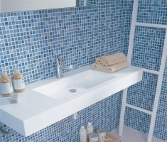 mosaic blue and white bathroom tiles