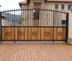 nice front gate designs with wood and black metal iron material and sliding function