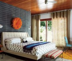 nice mater bedroom with modern window treatments