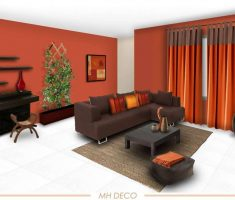 orange solid paint colors for living room with brown sofa