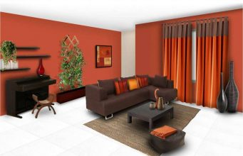 orange-solid-paint-colors-for-living-room-with-brown-sofa