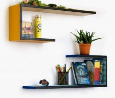 orange and blue steps wall mount shelf design