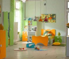 orange and green kids girls bedroom furniture