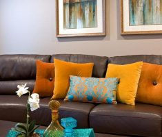 orange and yellow throw pillow covers design for brown couch sofa