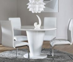 paris white dining table and chairs high gloss