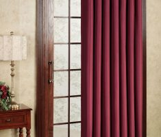 patio door curtain with red color design