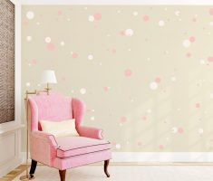 pink and white polka dot wall decals decorations with pink corner chair
