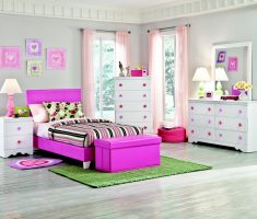 pinky and white girls bedroom furniture design