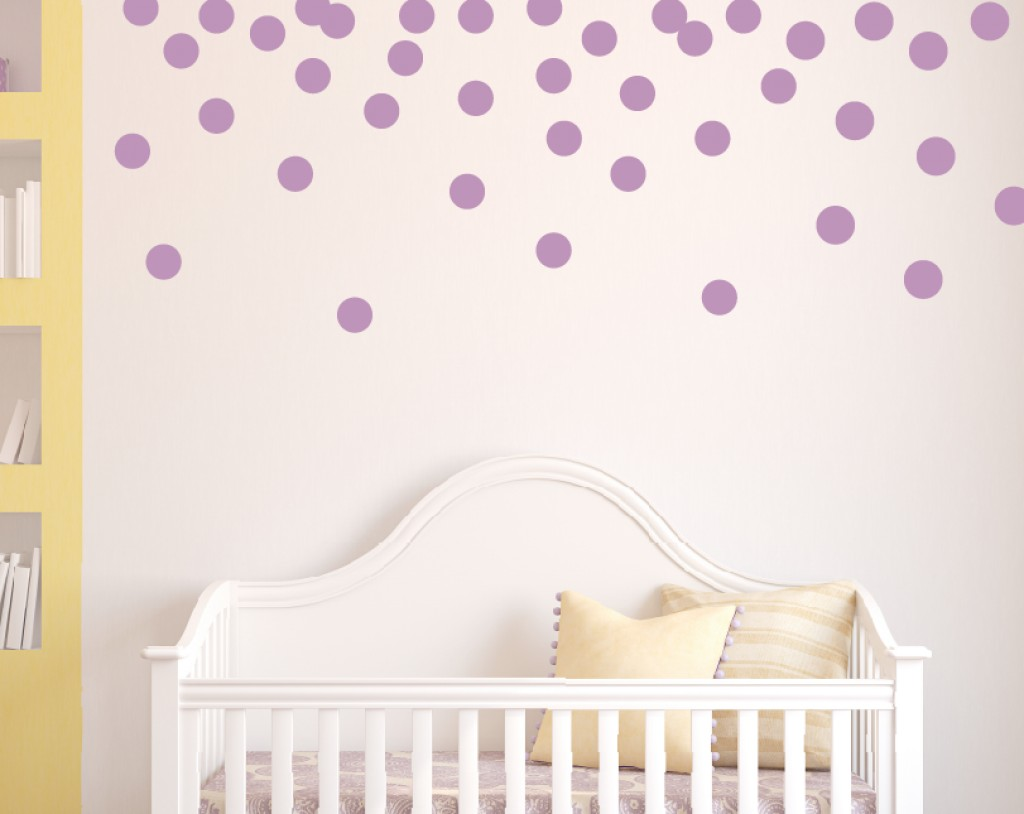 purple violet polka dot wall decals for nursery home inspiring. Black Bedroom Furniture Sets. Home Design Ideas