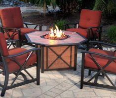 red agio patio furniture wooden with fire place table