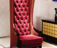 red elegant tufted high back chair
