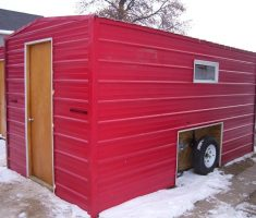 red portable ice fishing house