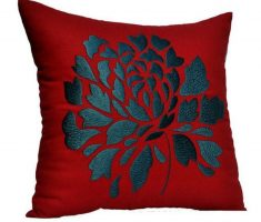 red throw pillow covers design with black embroidery flower