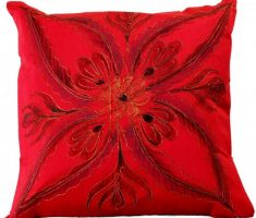 red throw pillow covers design with embroidery flowers