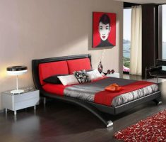 red and white master bedrooms decoration theme with modern bed set