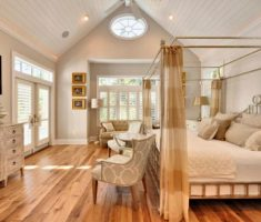 romantic canopy beds for modern bedroom with light hardwood