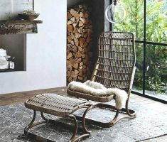 rustic diy high back chair rattan materials with ottoman