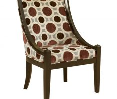 rustic high back chair with polka dot decor