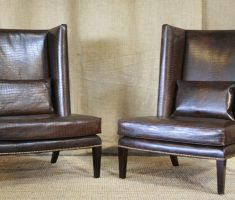 rustic leather high back chair with pillow back