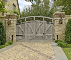 rustic light grey front gate designs wood material with brick pillar