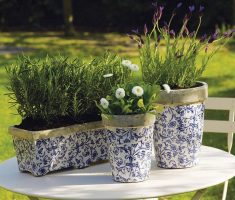 rustic modern garden pots with floral paint pattern