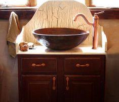 rustic vessel sink vanities for small bathroom with drawer