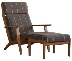 rustic wooden high back chair with ottoman