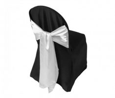 satin black folding chair covers with white ribbon