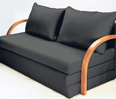 satin black small sofa bed with wooden arms