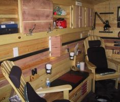 sear area for luxury ice fishing house interior