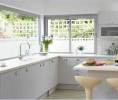shiny bright modern window treatments for kitchen with glass