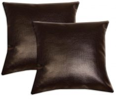 shiny brown throw pillow leather covers design