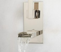 silver modern bathroom wall faucets