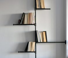 simple black metal wall mount shelf design