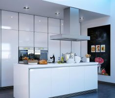 simple modern small kitchen with island