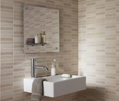 small bathroom with small brick beige bathroom tiles
