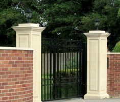 small beauty front gate designs with brick fence