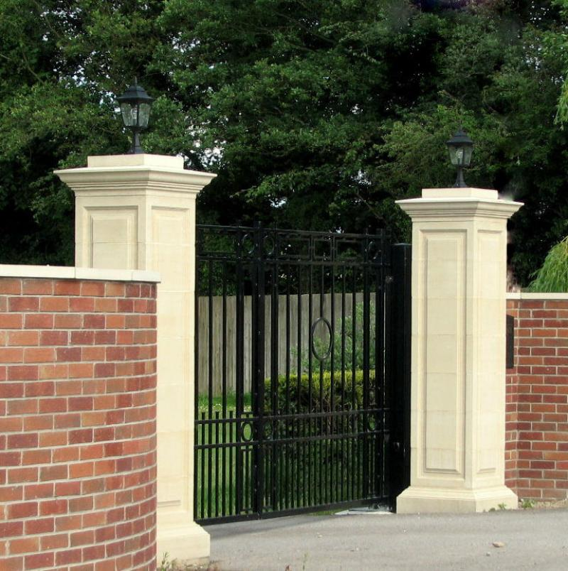 Small beauty front gate designs with brick fence for Front gate design ideas