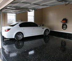 small black epoxy garage floor