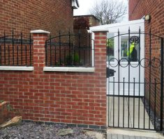 small front gate designs with brick wall pillar for small house
