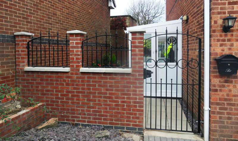 Small Front Gate Designs With Brick Wall Pillar For Small