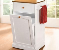 small kitchen island cart with trash bin