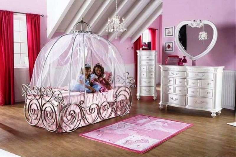 Small modern carriage bed disney princess bedroom home inspiring for Disney princess bedroom furniture