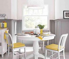 small round white dining table and chairs