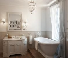 small traditional bathroom designs with cute glass chanderlier and porcelain tube