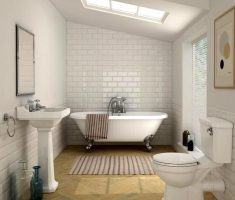 small traditional bathroom designs with white brick wall design