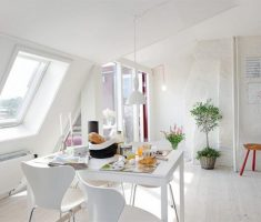 small white dining table and chairs on attic